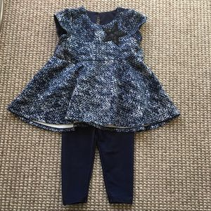 Pippa & Julie 2T top/denim cropped legging set